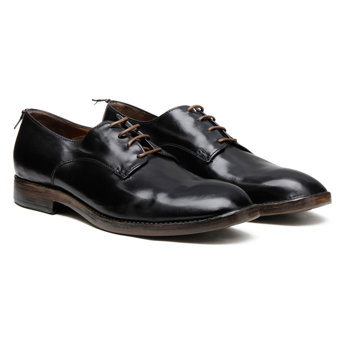 Black brushed leather Derby shoes