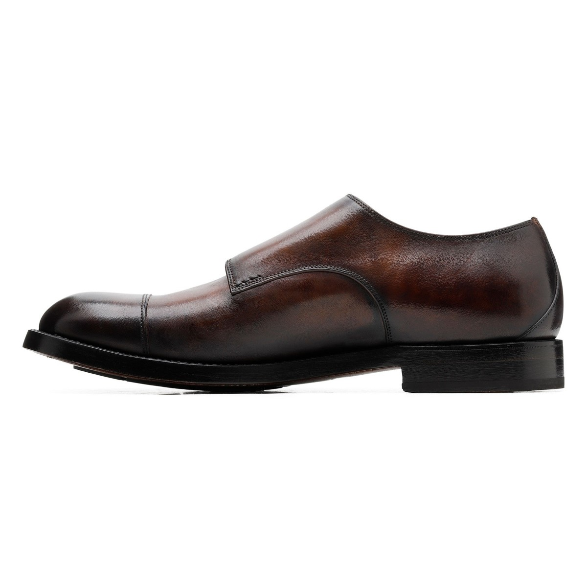 Brown leather buckled Monk shoes