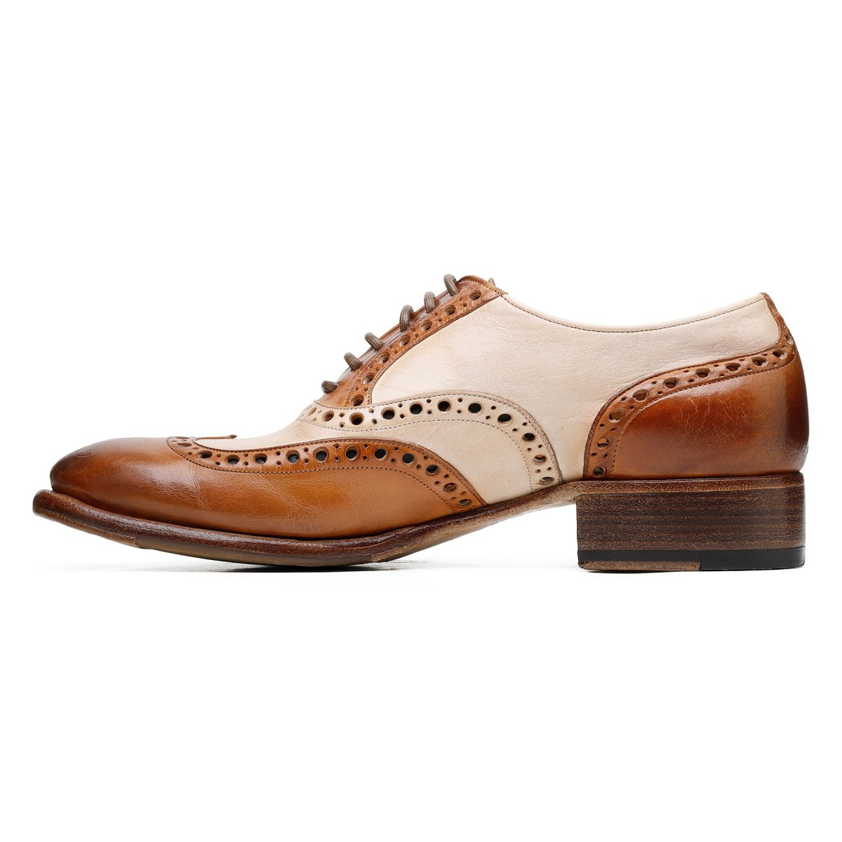 Two-tone leather Oxford shoes