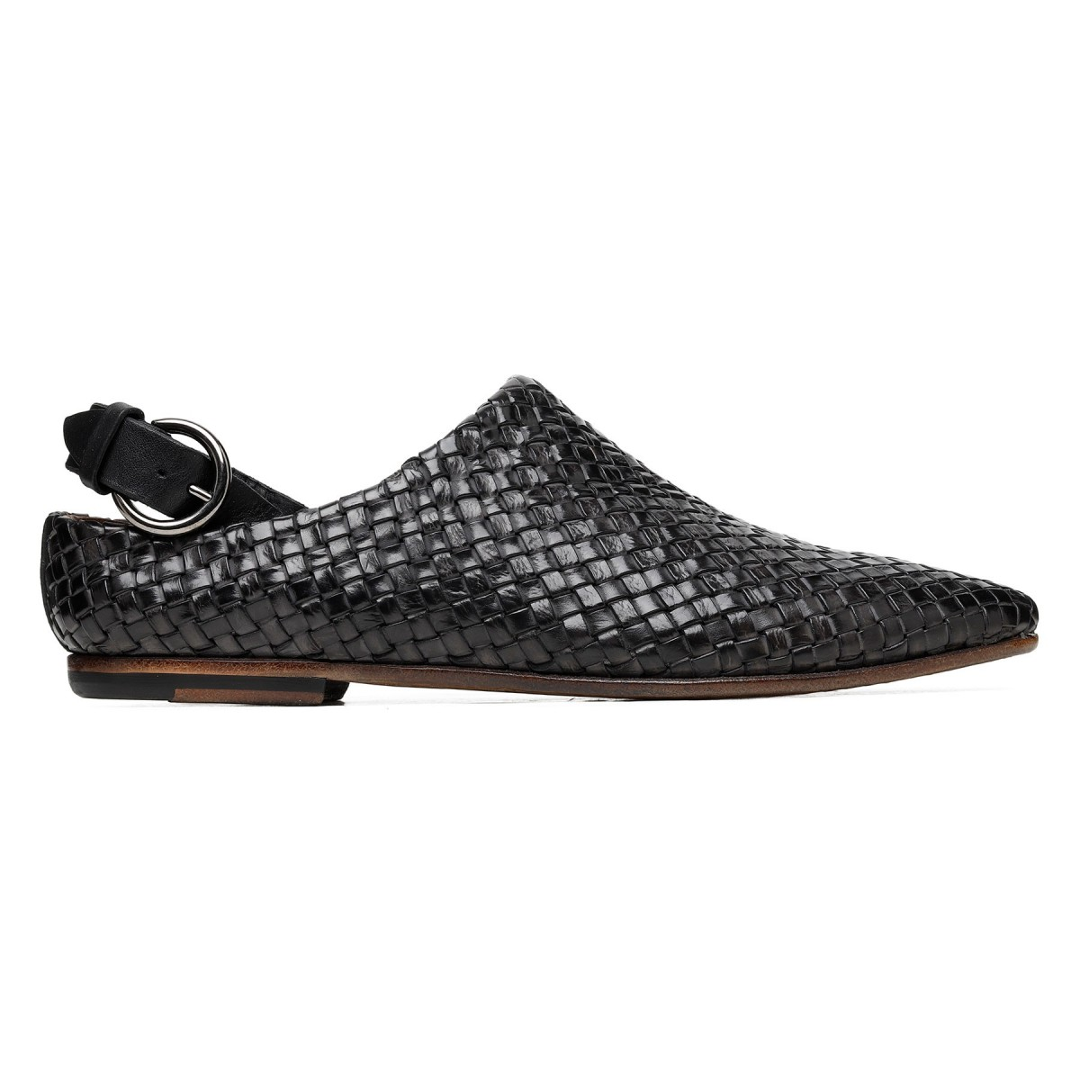 Black woven calf leather slippers
