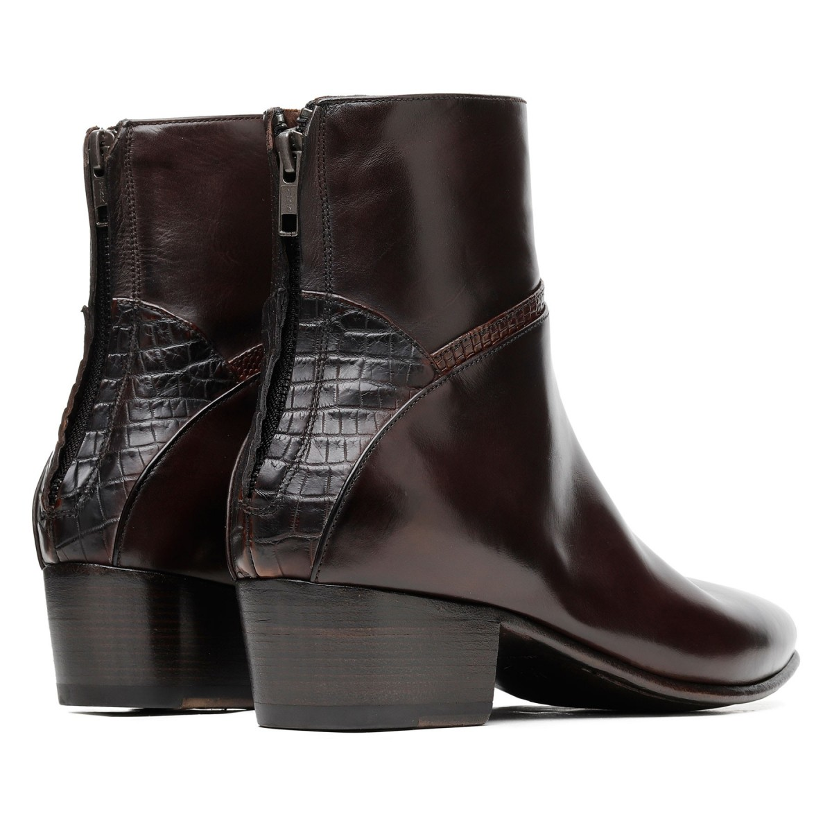 Brown calf leather ankle boots