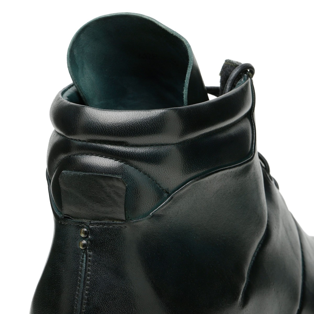 Dark green leather booties