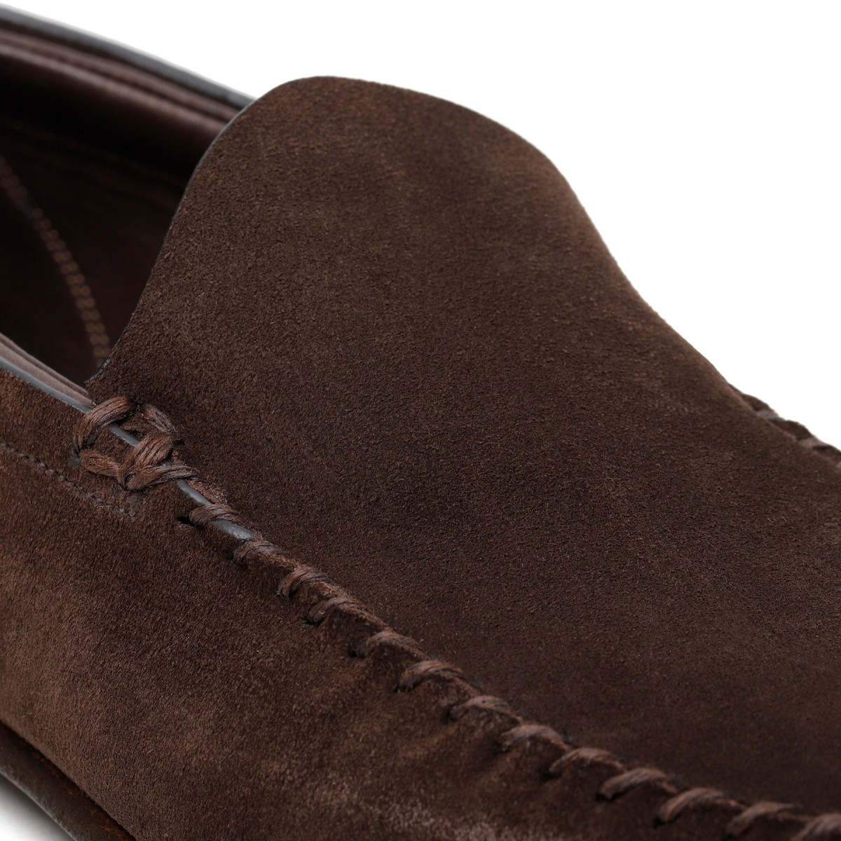 Dark brown suede loafers