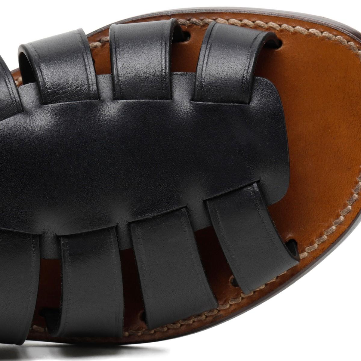 Black leather gladiator sandals