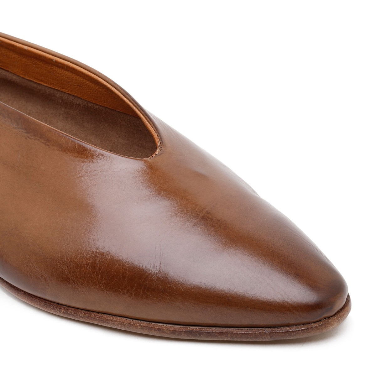 Brown calf leather slippers