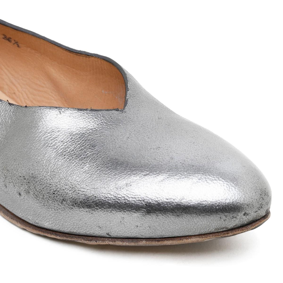 Slippers in pelle argentata