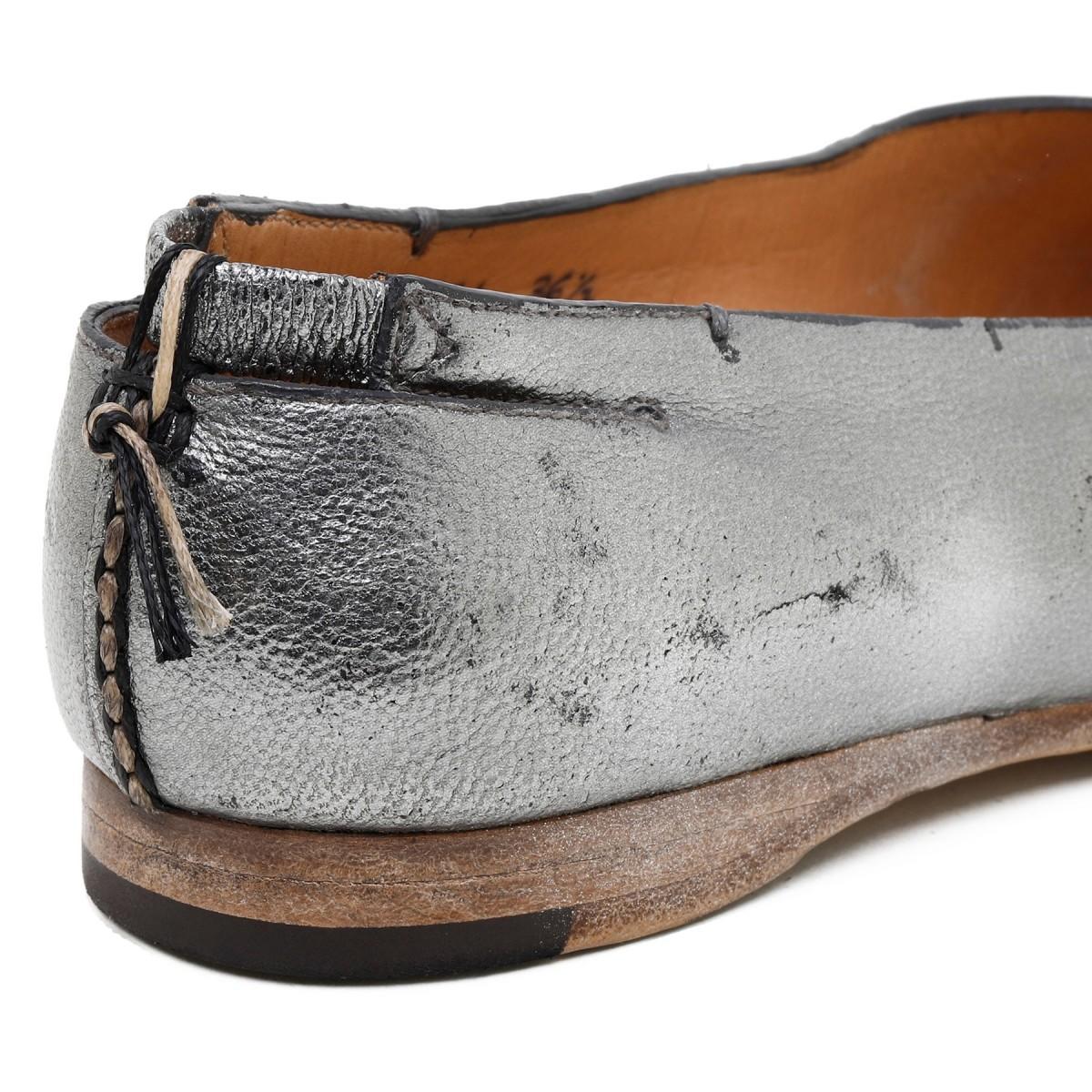Metallic silver slippers