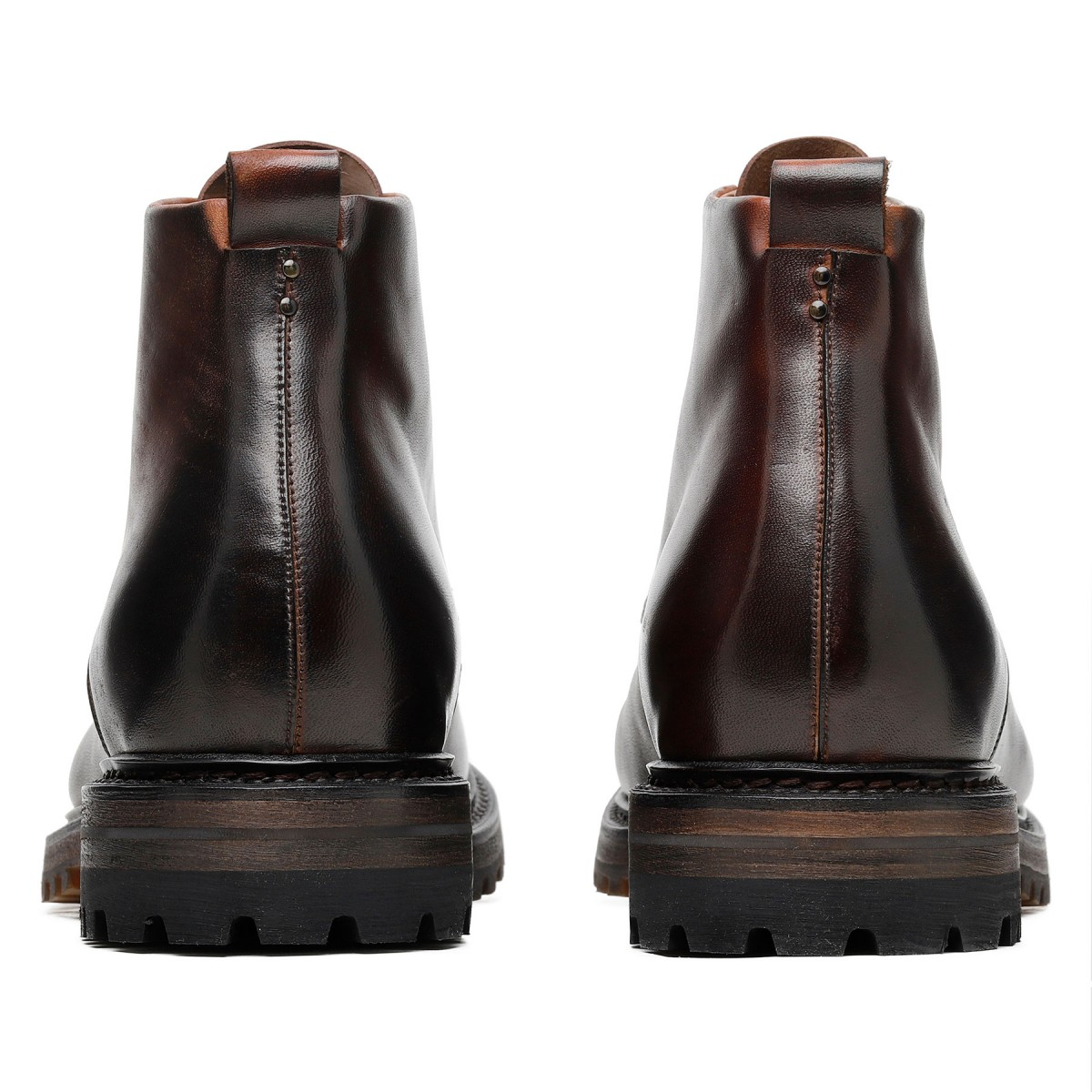 Chocolate leather ankle boots