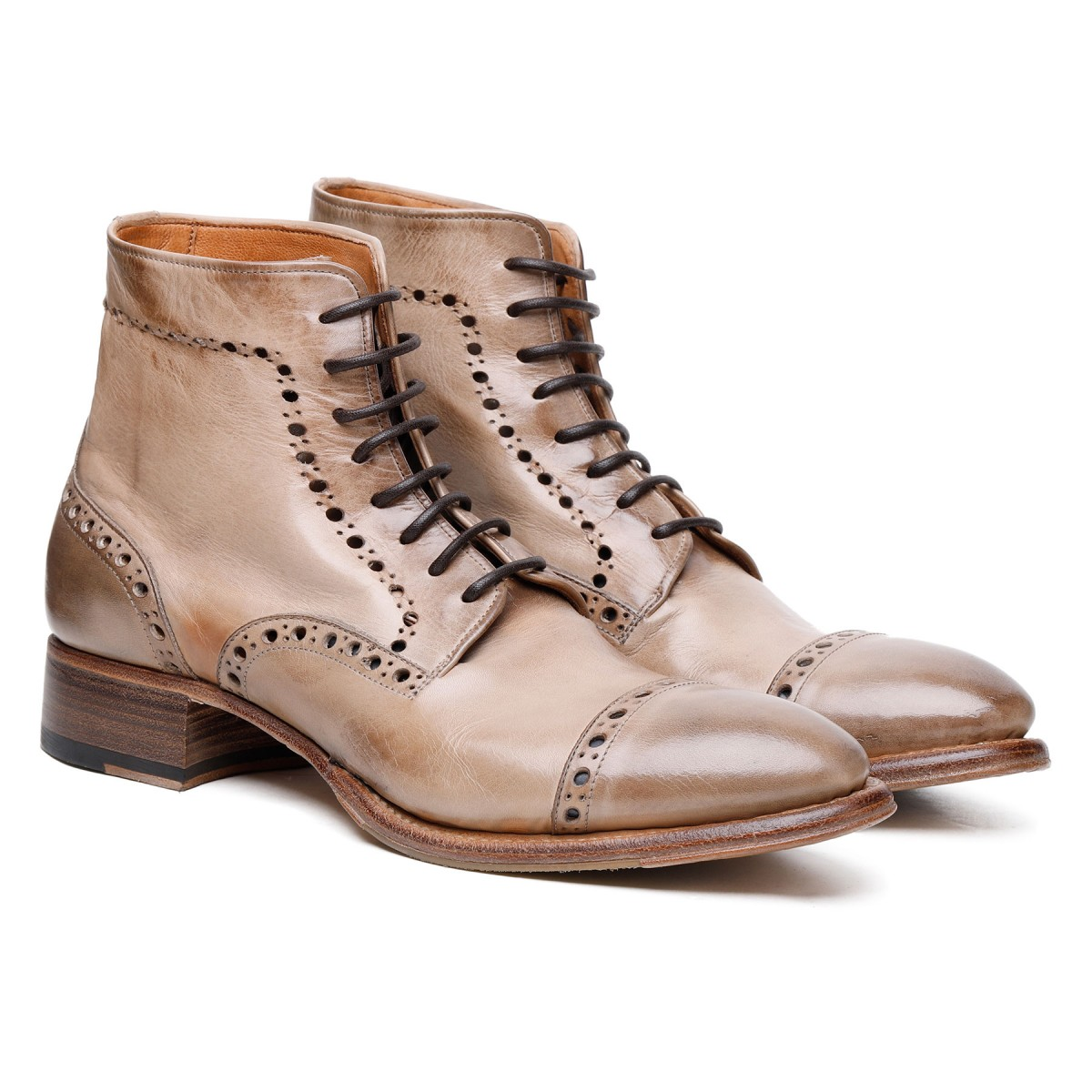 Clay-hue leather Brogue booties