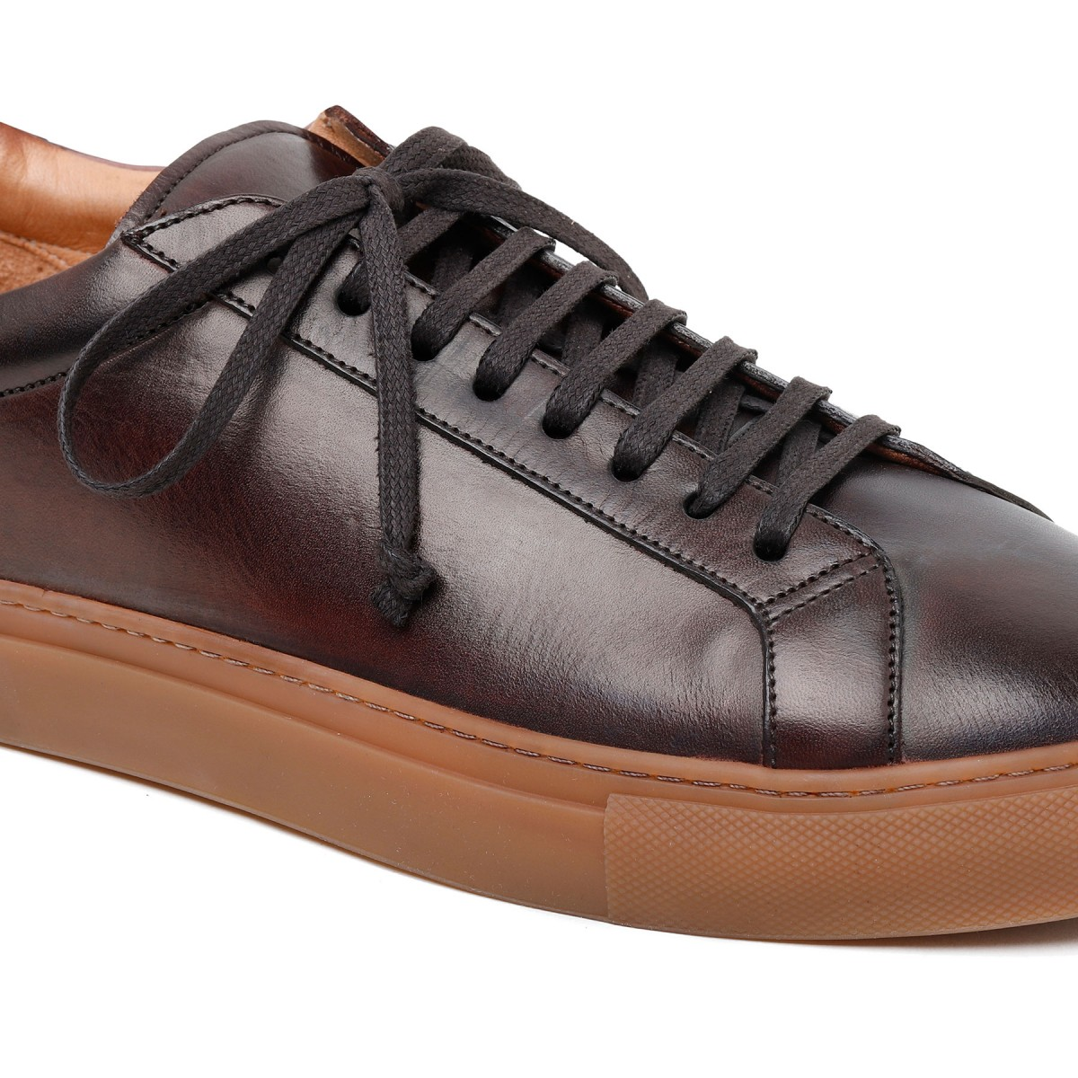 Romilly dark brown leather sneakers