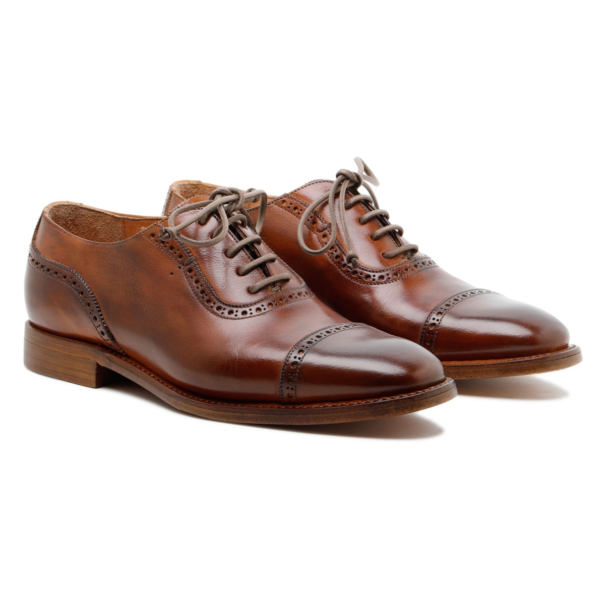 Lione brown leather lace-up shoes