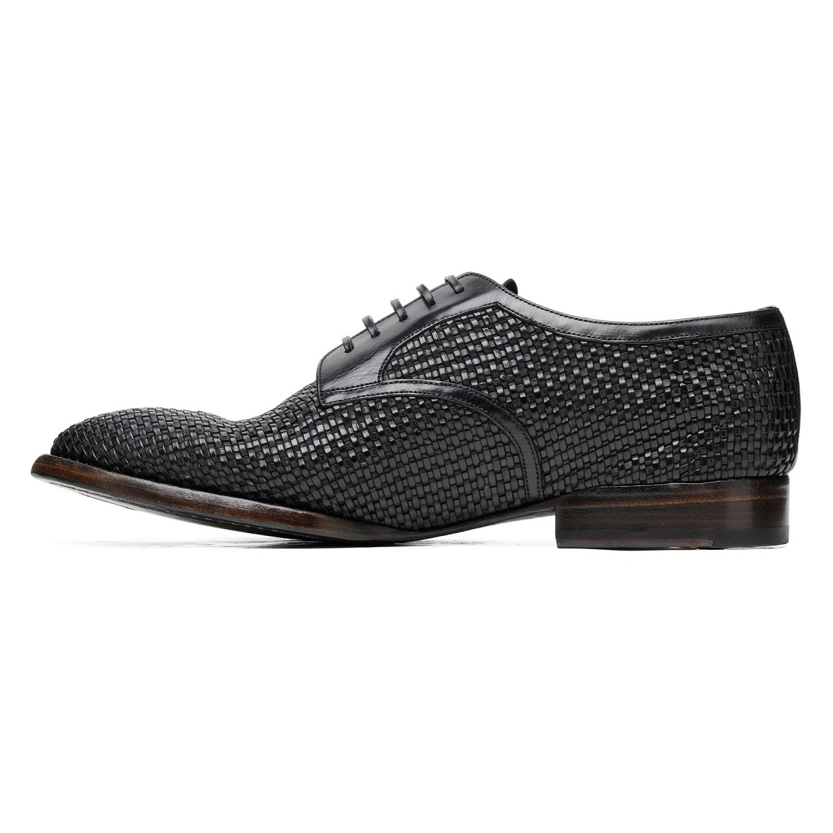 Black woven leather Derby shoes