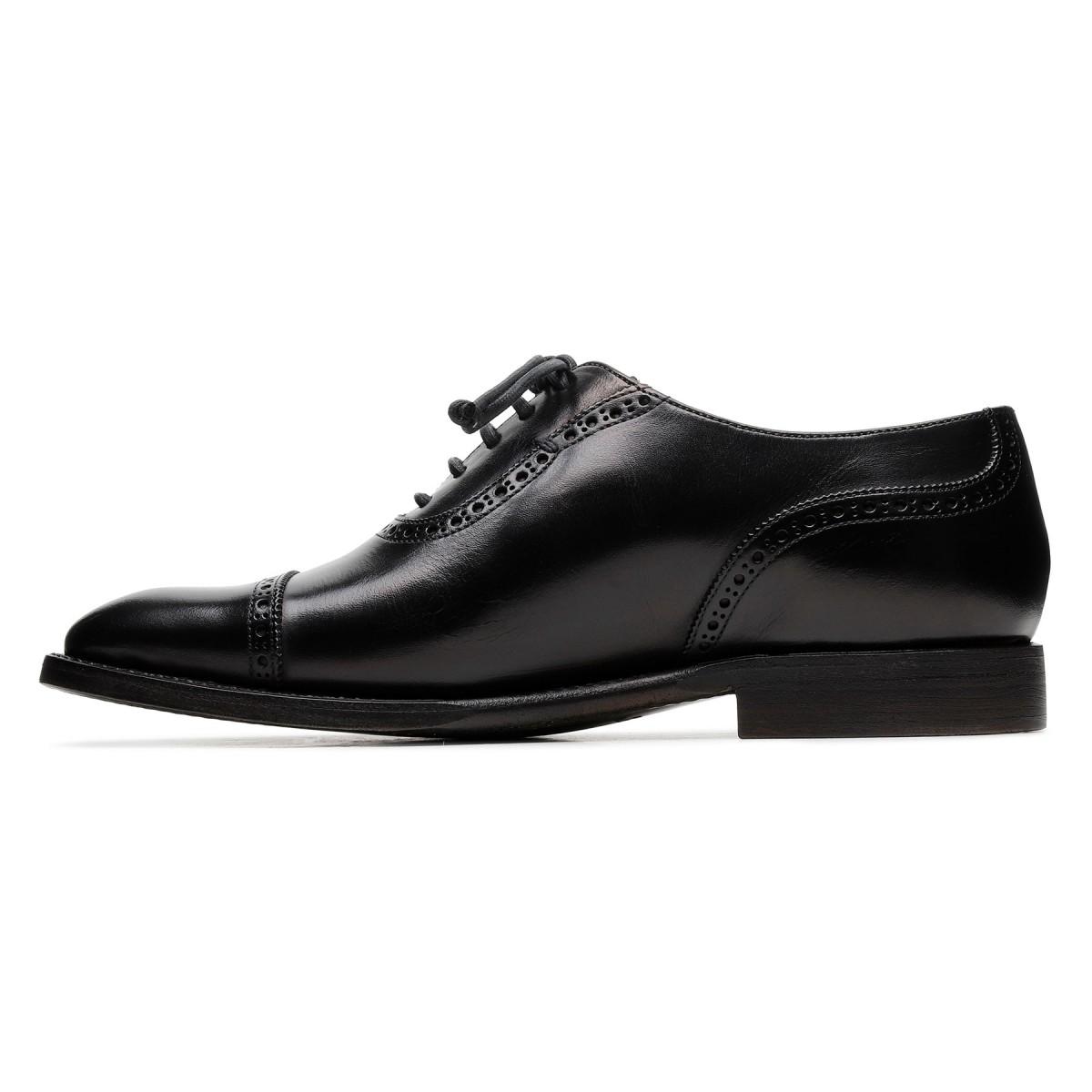 Lione black leather lace-up shoes
