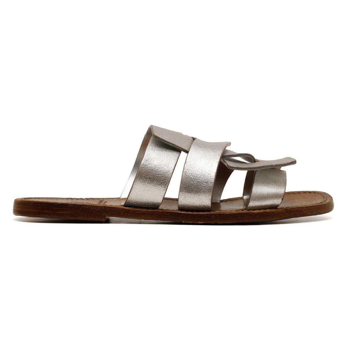 Metallic silver leather slide sandals