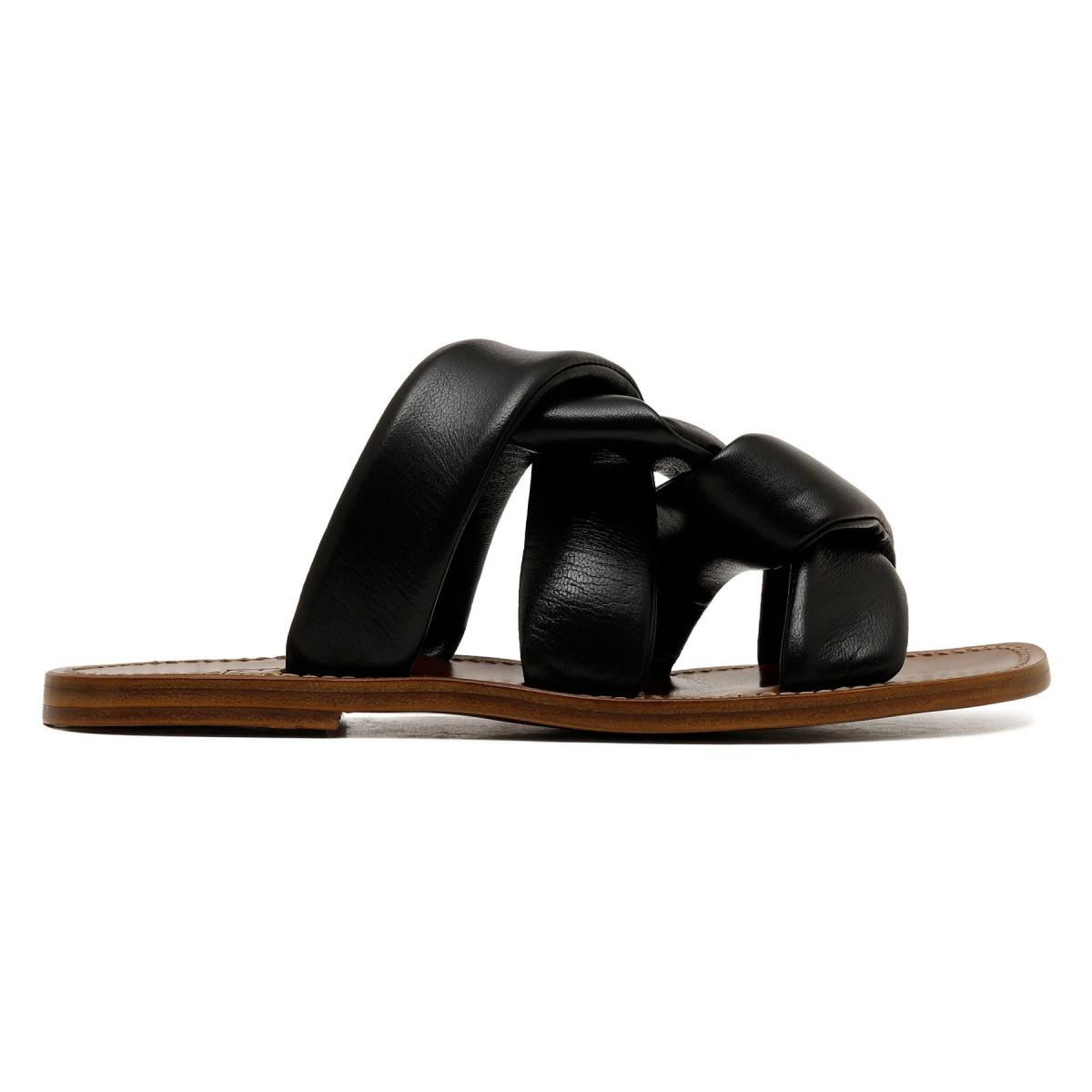 Black leather slide sandals