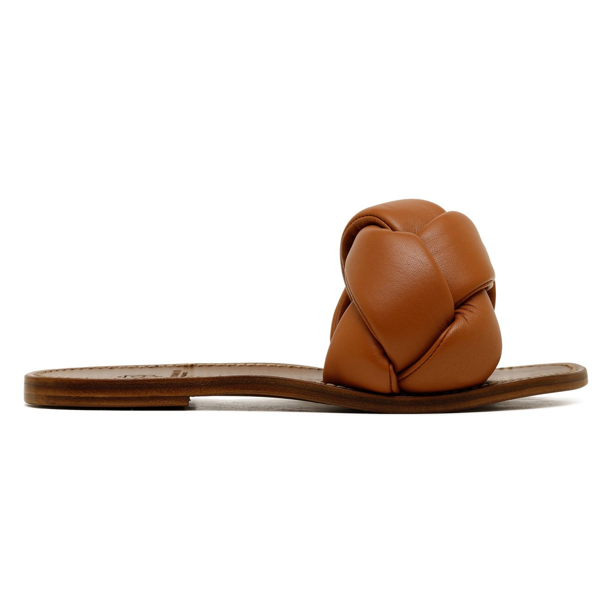 Brown padded woven sandals