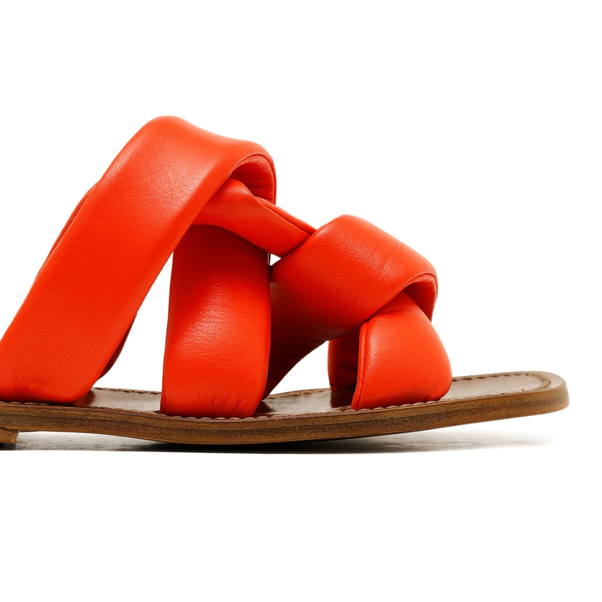 Red leather slide sandals
