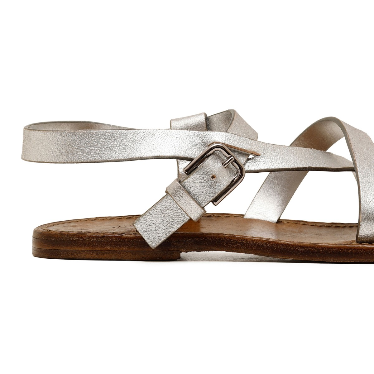Silver leather flat sandals