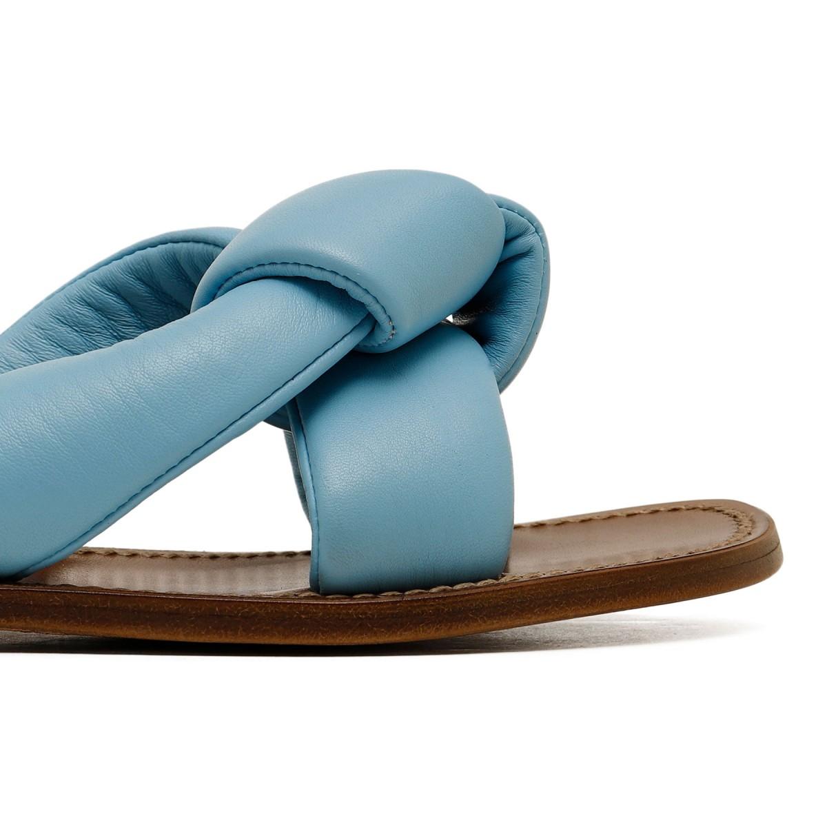 Light blue leather slide sandals