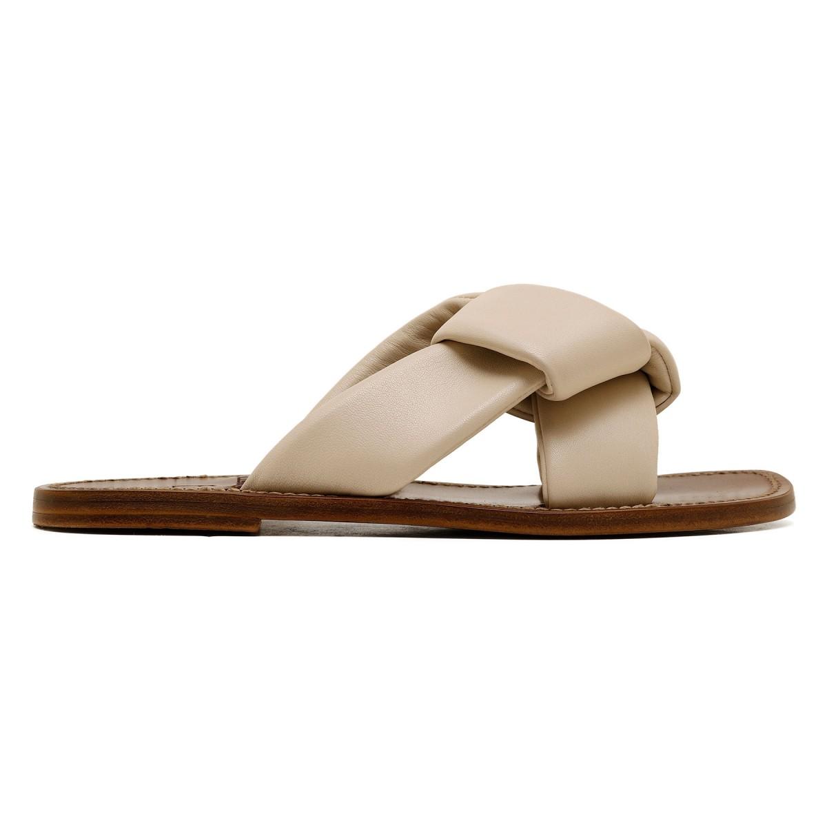 Cream leather slide sandals