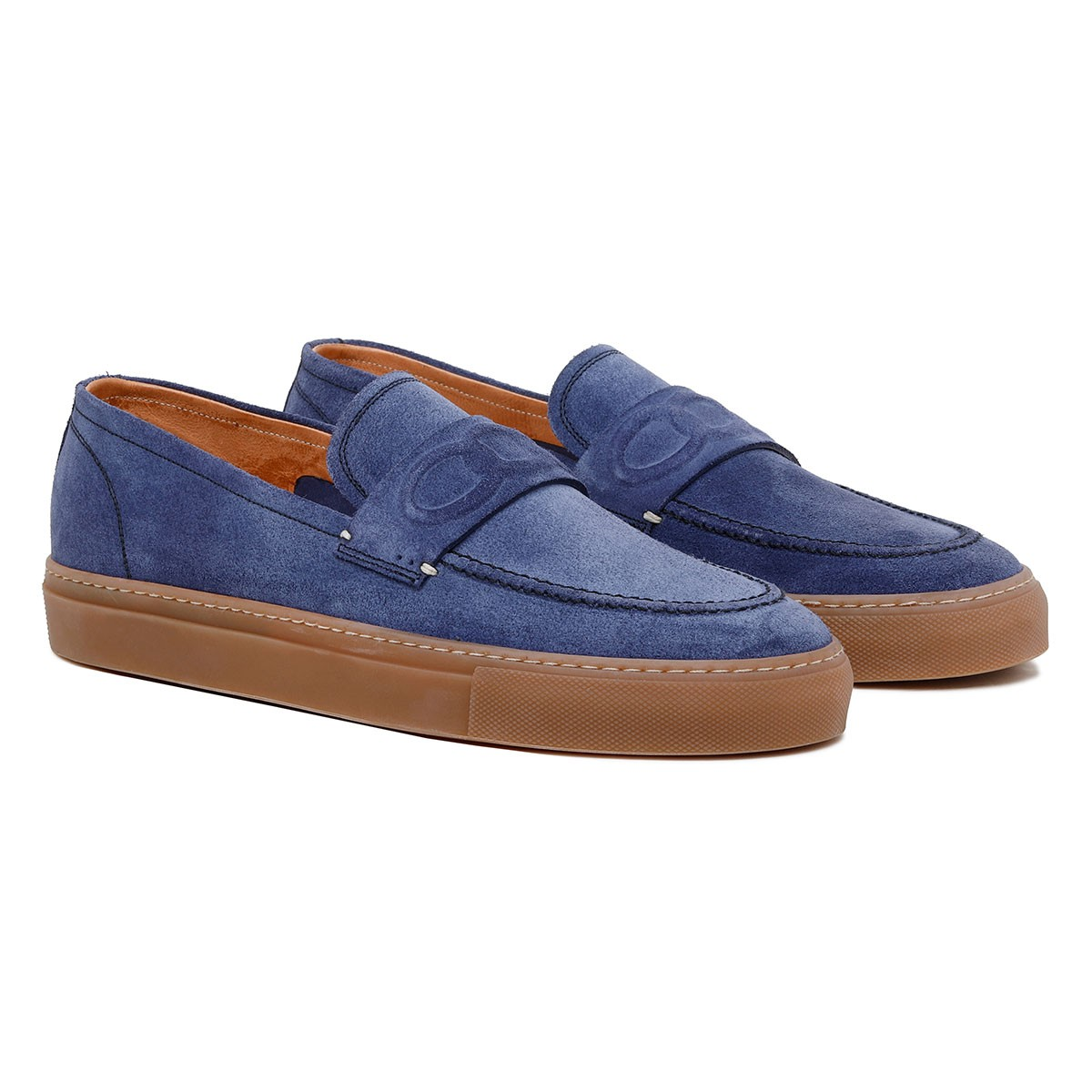 St. Tropez blue suede loafers