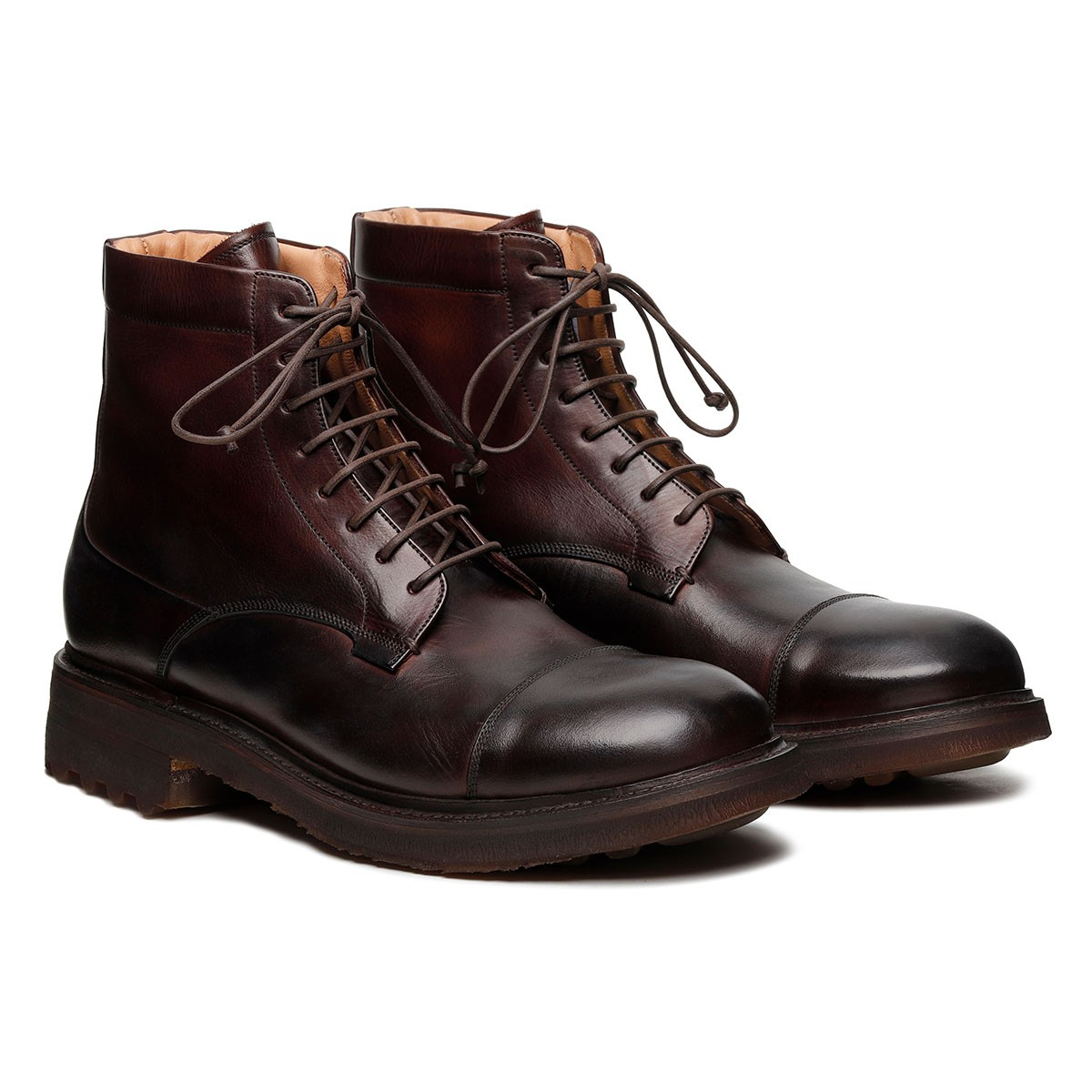 St. Moritz dark brown leather booties