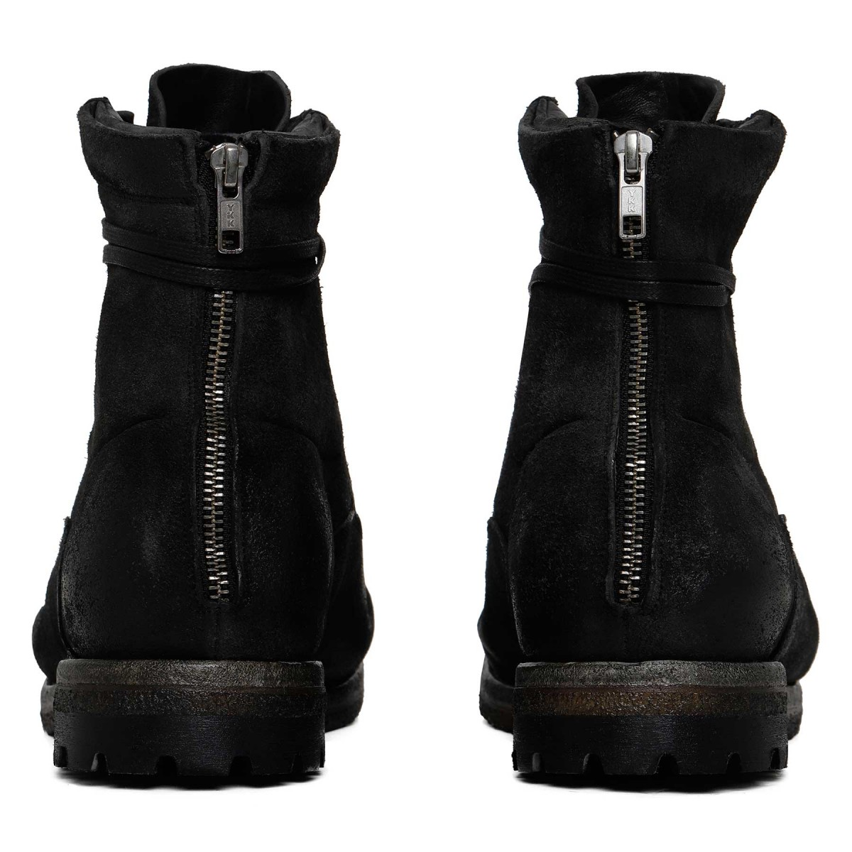 Black suede leather ankle boots