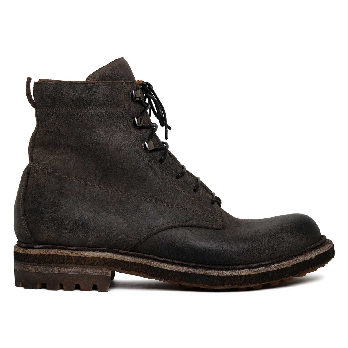 Gray waxed suede leather booties