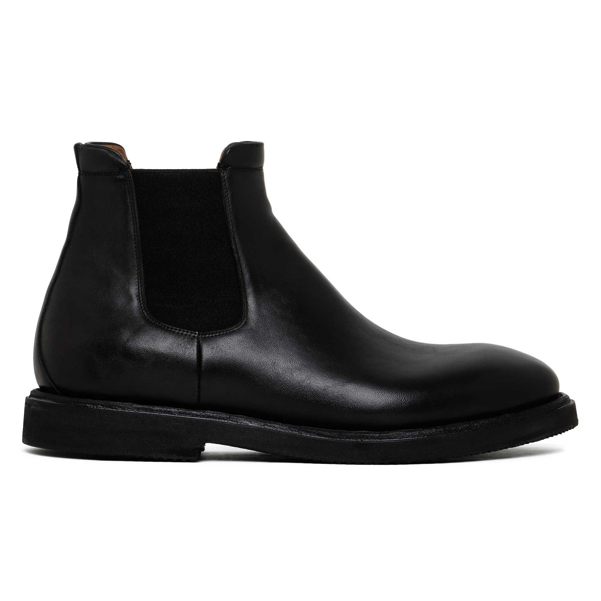 Black leather Beatles ankle boots