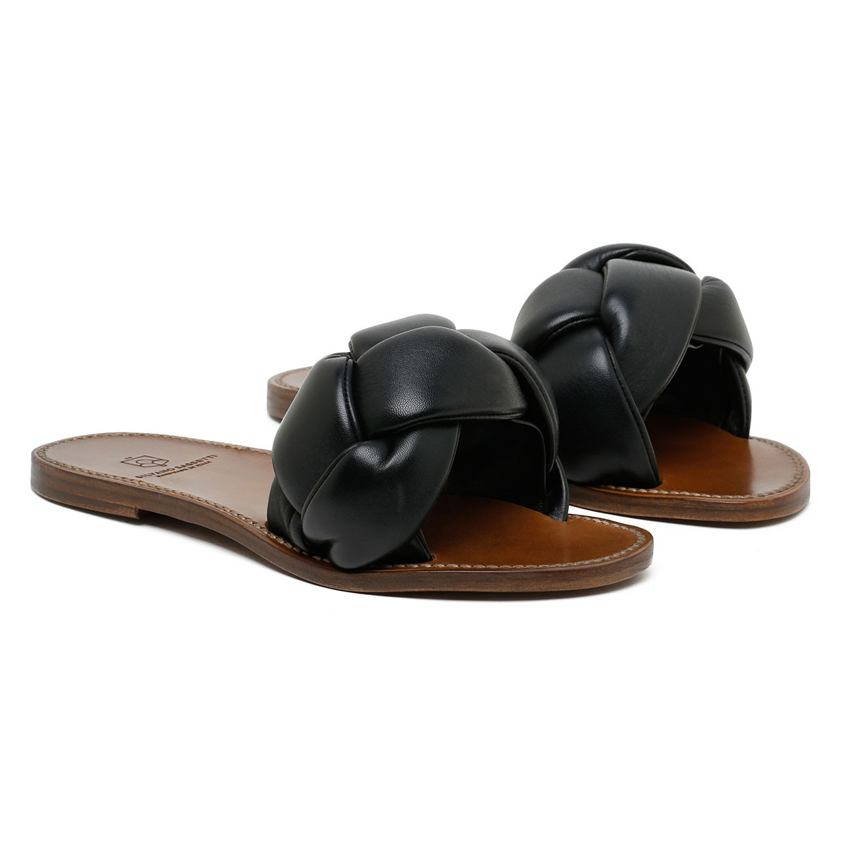 Black woven leather sandals