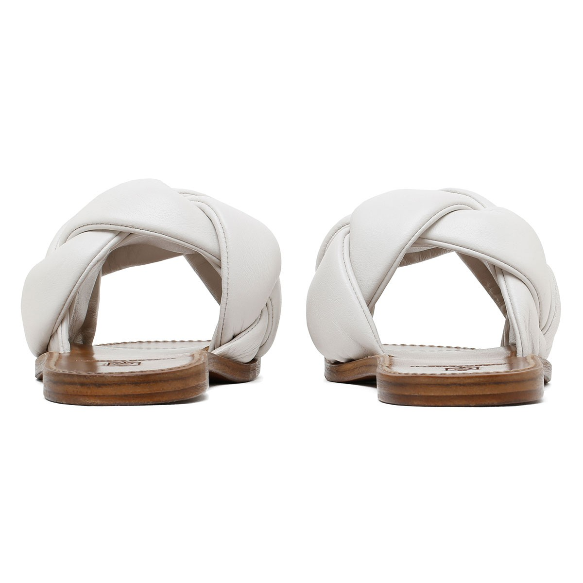 White woven leather sandals