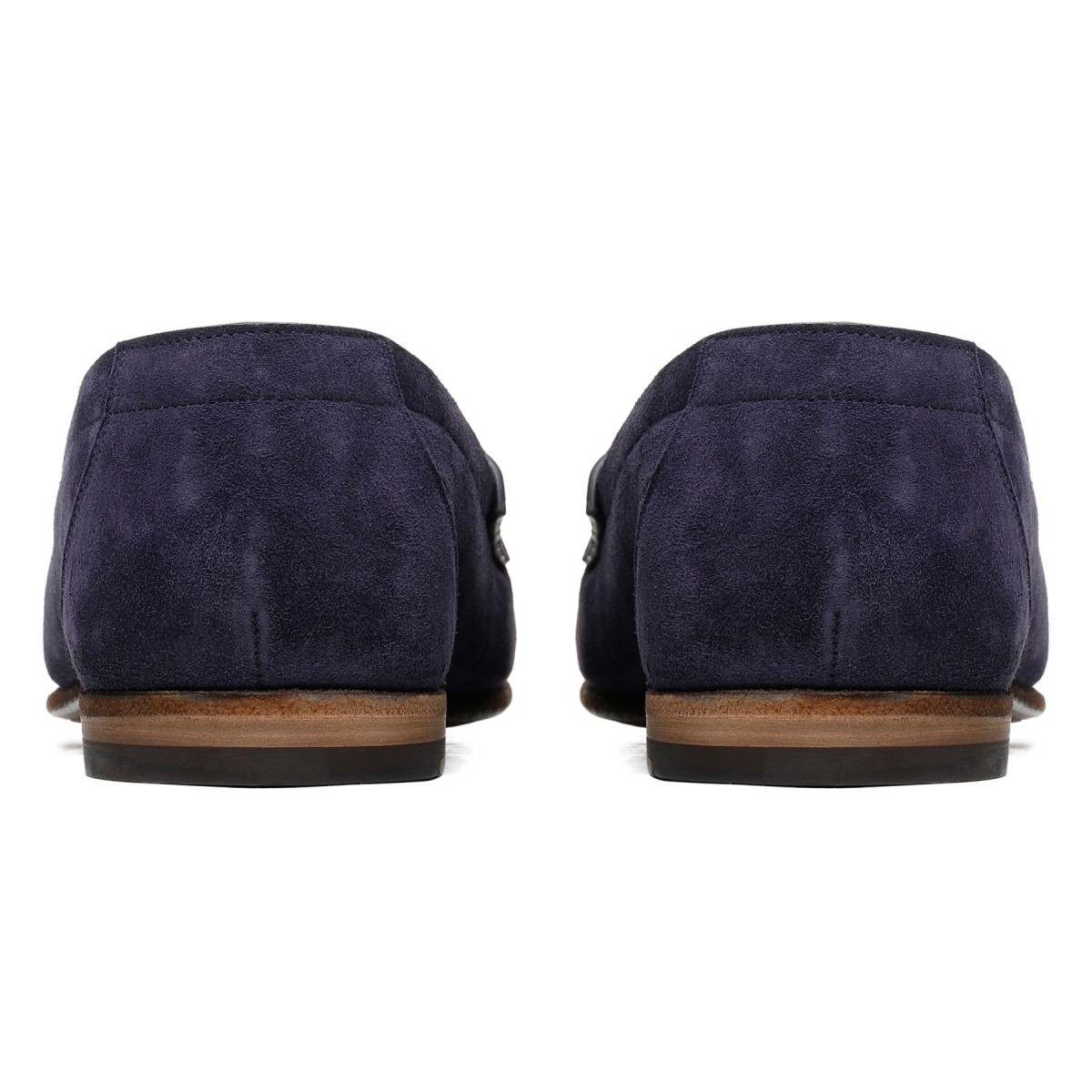 Blue suede leather loafers